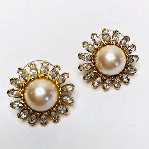 Vintage Monet Signed Pearl Sunburst Earrings Gold